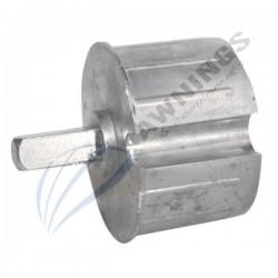 Getriebeanschluss mit 13 mm 4-Kant für 80mm Nutwelle